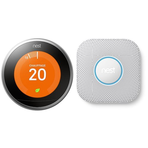 Nest Learning Thermostat 3rd gen. - Termostato (Acero inoxidable, Analógico, 53 x 53 mm, lithium-ion) + Detector de humo y monóxido de carbono a pilas