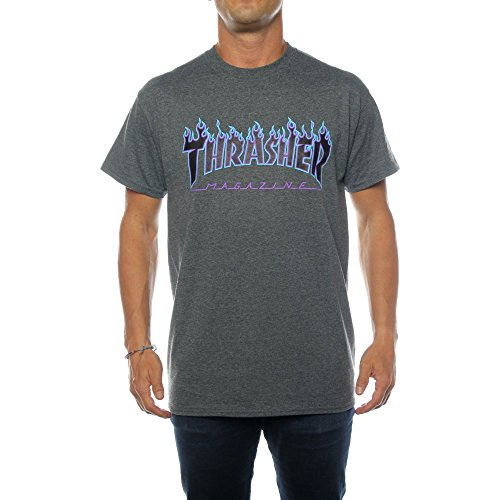 Thrasher T-Shirts Flame Logo T-Shirt. darkheather