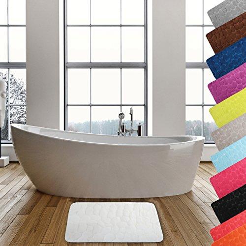 MSV Badteppich Badvorleger Duschvorleger Kieselstein Badematte waschbar, schnelltrocknend, rutschfest 40x60 cm - Weiß