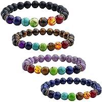 JOVIVI 4x Damen Herren Energietherapie Yoga-Armband Amethyst Tigerauge 7 Stein Chakra Healing Balance Buddha-Armband preisvergleich bei billige-tabletten.eu