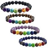 JOVIVI 4x Damen Herren Energietherapie Yoga-Armband Amethyst Tigerauge 7 Stein Chakra Healing Balance Buddha-Armband