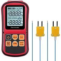 kamtop Digital Thermometer Dual Channel Thermometer mit zwei K-Typ Thermoelemente Temperatur Messgerät mit LCD Hintergrundbeleuchtung für K/J/T/E/R/S/N Thermoelement