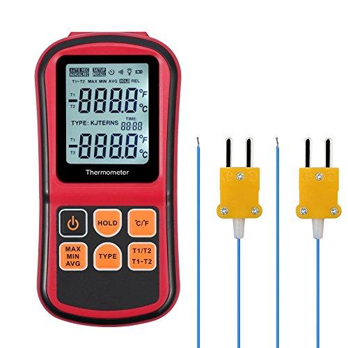 kamtop Digital Thermometer Dual Channel Thermometer mit zwei K-Typ Thermoelemente Temperatur Messgerät mit LCD Hintergrundbeleuchtung für K/J/T/E/R/S/N Thermoelement Thermoelement Führen