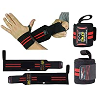 """Deluxe Wrist Wraps 33CM or 13"""" Long (1 Pair /2 Wraps) for WEIGHT LIFTING TRAINING WRIST SUPPORT COTTON WRAPS GYM BANDAGE STRAPS For Men & Women - Premium Quality & PRO Rubber."""