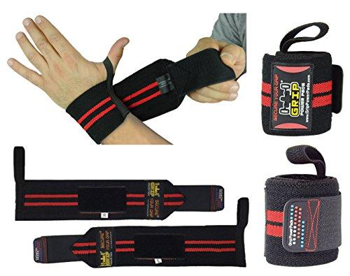 Fasce per allenamento 1 paio (2 fasce), per palestra, polsiera in cotone, per uomo e donna, di prima qualità, con pro rubber (red 2 stripes, 13