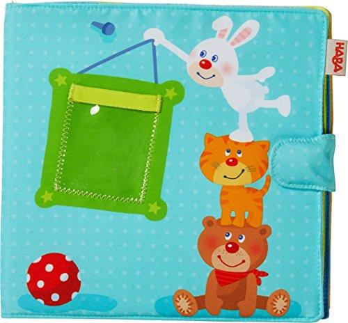 HABA 303143 - Baby-Fotoalbum Spielgefährten2, Album aus Stoff mit 10 Seiten, Einstecktaschen für 8 Fotos im Format 10 x 15 cm, Ab 12 Monaten (Stoff-buch)