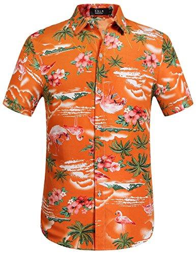 SSLR Herren Hawaiihemd Kurzarm Baumwolle Hemd Flamingos gedruckt Aloha Shirt für Strand Freizeit Reise (X-Large, Orange) -