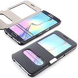 ScorpioCover Schutz Hülle mit Magnet Verschluss für Samsung Galaxy S5 Mini Double View Cover Sichtfenster Case dunkel blau