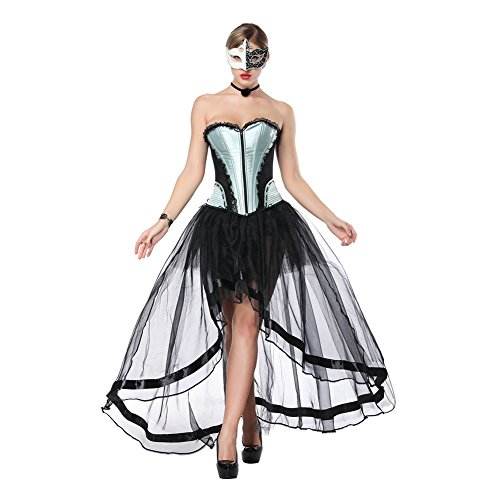 FeelinGirl Damen Korsagekleid Steampunk Gothic Kostüm Magic Mistress Hexenkostüm Teufelchen Halloween Cosplay Priatbraut
