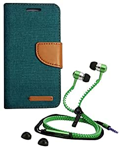 Aart Fancy Wallet Dairy Jeans Flip Case Cover for Apple6G (Green) + Zipper Earphones/Hands free With Mic *Stylish Design* for all Mobiles- computers & laptops By Aart Store.