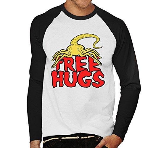 Cloud City 7 Free Hugs Facehugger Alien Men's Baseball Long Sleeved T-Shirt (Hugs Herren Free Baseball)