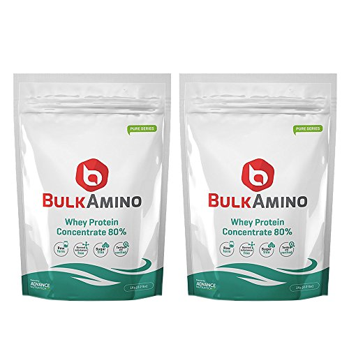 Advance Nutratech Bulkamino Whey Protein Concentrate 80 % Raw Protein 2Kg(4.4Lbs) (Pack Of 2 X 1Kg)