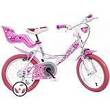 """Bici Dino 16"""" Bimba per Bambina 6-8 anni con Rotelline"""