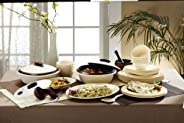 Signoraware Square Plastic Dinner Set  36-Pieces  Off White and Maroon