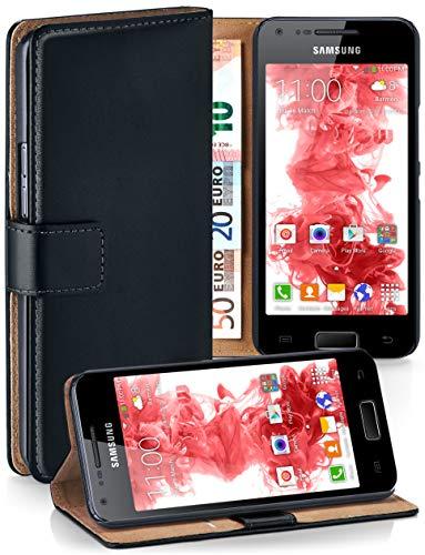 moex® Booklet mit Flip Funktion [360 Grad Voll-Schutz] für Samsung Galaxy S2 / S2 Plus   Geldfach und Kartenfach + Stand-Funktion und Magnet-Verschluss, Schwarz I9100 Handy