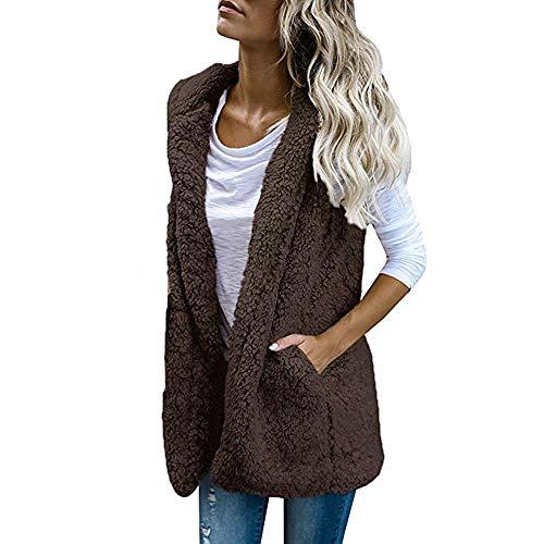 NINGSANJIN Frauen-Damen Anker Weg von der Schulter Maxi-Slouchy Sweatshirt Pullover Tops Blusen Coffee,S