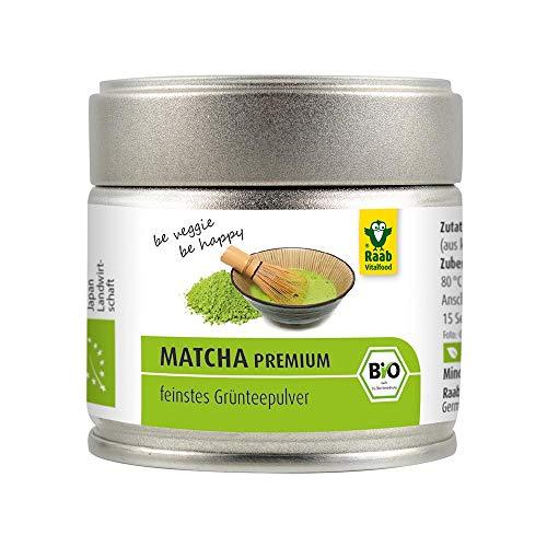 Raab Vitalfood Premium Bio Matcha-Grüntee aus Japan, reines Matcha-Pulver ohne Zusätze, fein gemahlen, fein-herber Geschmack, Grüntee-Pulver, vegan, Tee-Zeremonie, 1er Pack (30 g)