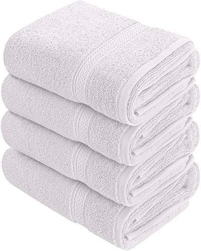 Toallas de mano grandes de algodón (blanco, paquete de 4, 41 x 71 cm) - Uso multipropósito para baño, manos, rostro, gimnasio y spa - Toallas utopia