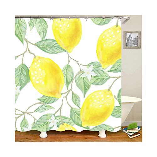 Gnzoe Duschvorhang 90x180CM Badewanne Vorhang Zitrone Muster Bad Vorhang Gelb für Badezimmer (Gelb Duschvorhang Zitrone)