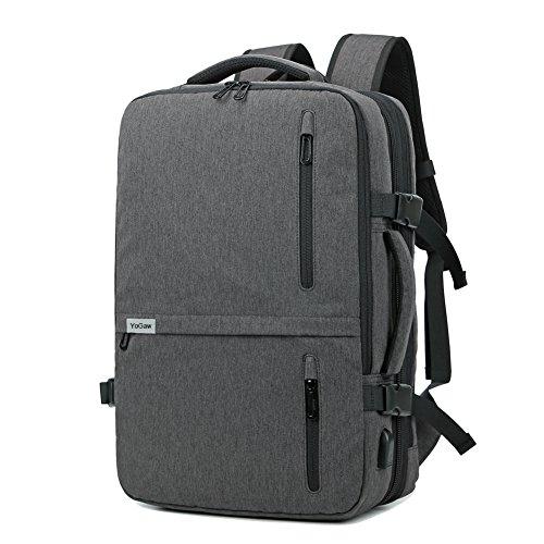 """17 """"Laptop Rucksack HiQuaty Geschäftsreisen Gepäcktasche Diebstahl Lässig Daypack Multi-Use mit USB Ladeanschluss (Upgrade Grau)"""