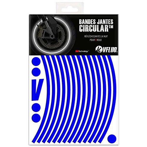 VFLUO Circular™, Kit de Cintas, Rayas Retro Reflectantes para Llantas de Moto (1 Rueda), 3M Technology™, Anchura Normal : 7mm, Azul