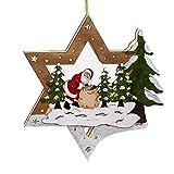 Weihnachtsdeko beleuchteter Stern mit Weihnachtszene Weihnachtsmann Weihnachtsdekoration aus Holz und LED Beleuchtung Fensterbild für Weihnachten