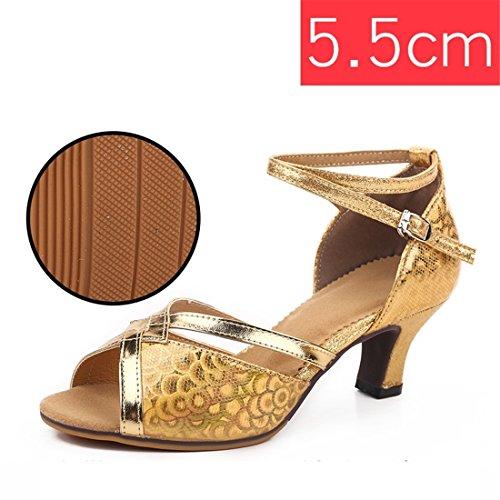 Wxmddn Ladies'scarpe balletti scarpe danza scarpe tango ginnastica danza jazz scarpe danza allenatori scarpe pratica performance Dance scarpe per ragazze donne Oro colorato all'aperto