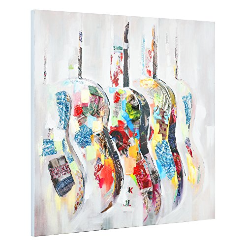 [art.work] Original handgemaltes Wandbild mit Gitarren-Motiv auf Leinwand inkl. Keilrahmen
