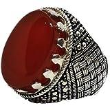 خاتم فضة رجالي مع حجر عقيق احمر طبيعي ونادر