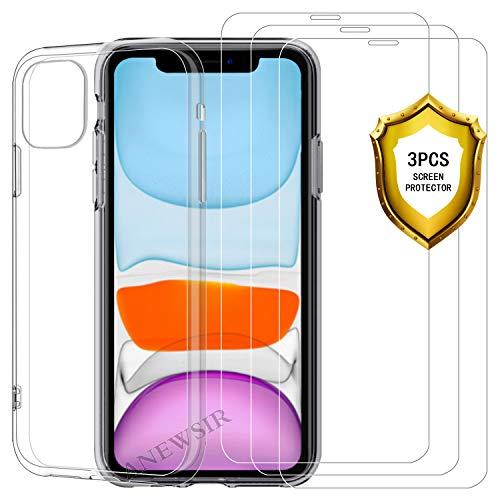 ANEWSIR pour iPhone 11 6.1 2019 Verre Trempé Protection écran[3-Pièces] + Coque Transparente pour iPhone 11 6.1 2019