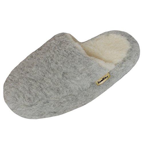 SamWo, Schafwoll-Wohlfühl-Hausschuhe/Pantoffeln,weiche Rutschfeste Sohle,100% Schafwolle, Größe: 41-42 HGR