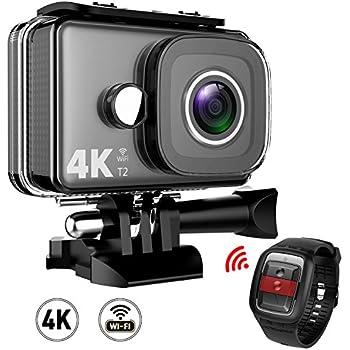 TEC.BEAN Action Camera 4K WiFi 14MP Ultra HD, Videocamera per Sport Impermeabile fino a 45m, Videocamera Subacquea con Grandangolare da 170° e Telecomando 2.4G, Batterie Ricaricabili e Kit Accessori