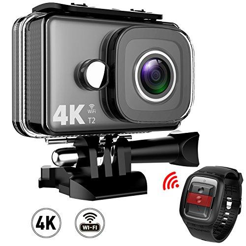 Galleria fotografica TEC.BEAN Action Camera 4K WiFi 14MP Ultra HD, Videocamera per Sport Impermeabile fino a 45m, Videocamera Subacquea con Grandangolare da 170° e Telecomando 2.4G, Batterie Ricaricabili e Kit Accessori