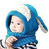 Butterme Invierno Bebé Niños Niño Cálido Gorro de Lana Capucha Bufanda Gorras de Punto Sombreros de Lana(Azul)