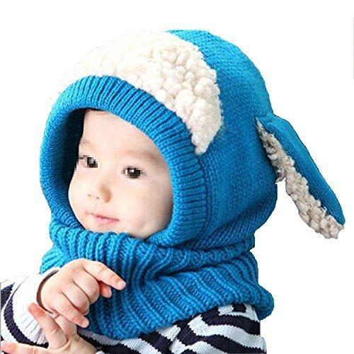 7f57324d8 ... Invierno Bebé Niños Niño Cálido Gorro de Lana Capucha Bufanda Gorras de Punto  Sombreros de Lana(Azul). febrero 3