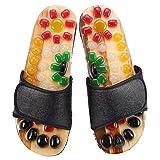 Pantofole per massaggio al piede in ciottoli naturali, massaggio al punto Soles Promuovere la circolazione del sangue Cura del piede Riflessologia Sandali(Schwarz 42)