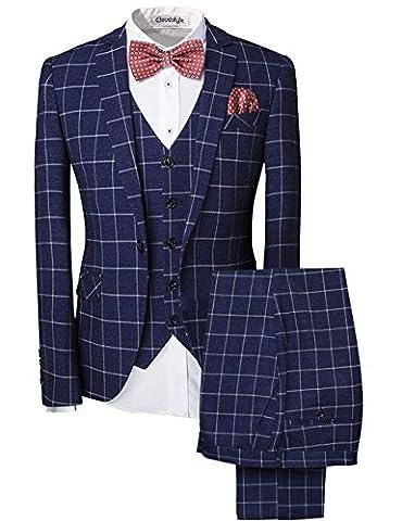 Modisch Slim Fit Schnitt Herren 5-Teilig Anzug Kariert Design in blau mit Weste + Krawatte+ Handtuch+Fliege Hochzeit Party