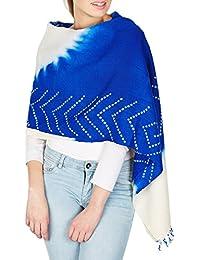 Handmade anniversaire accessoire indienne châle de laine Tie-Dye Cadeaux Blue Cream femmes 36x80 pouces