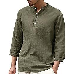 ShallGood Hombre Negro Camisa 100% algodón tailandés Hippie Yoga Camisa B Ejercito Verde X-Large