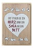 Vintage Retro Blechschild, Motto Haustiere, Modell: ' ERST STEHLEN SIE DEIN HERZ, DANN DEIN SOFA DANN DEIN BETT ' , Material Metall , Maße 19 x 13 cm, weiss, creme, ideal für Garten, Terrasse, oder einfach Zuhause.