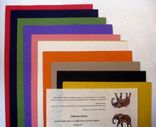 paperfreak: Elefantenpapier handgeschöpft A4 / Papier aus Elefantendung/FarbenSortiment / 10 BogenSet
