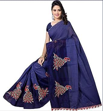 Indian Fashionista Women's Chanderi Cotton Saree with unstiched Blouse Piece (Navy blue Saree)