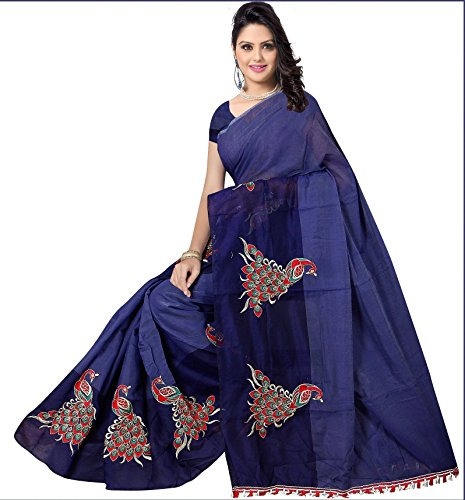 Indian Fashionista women's Chanderi Cotton Saree with unstiched Blouse Piece (Navy blue...