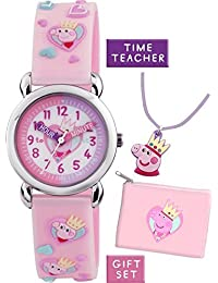 Peppa Pig Children's Quartz Watch with White Dial Time Teacher Display and Pink Silicone Strap APP002