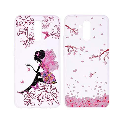 [2 Packs] Hülle für Huawei Mate 20 Lite, Misstars Transparent Weich TPU Silikon mit Malerei Muster Clear Backcover Anti-Rutsch Kratzfeste Schutzhülle, Kirschblüten + Mädchen