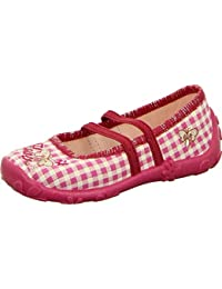 girlZ onlY Ballerina Hausschuh Mädchen Kinderschuh Schmetterlings-Motiv Karo-Muster Pink Weiss Rutschhemmend Gummierte Laufsohle Glitzer-Rand