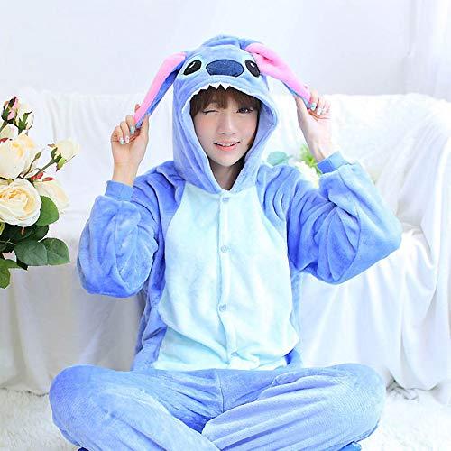 JYLW Damen Schlafanzug Winter Einhorn Pyjamas Sets Tier Pyjamas Frauen Einhorn Pyjamas Onesies Ganzes Stück Cosplay Kostüm Nachtwäsche, Blue Stitch, S