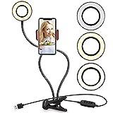 Selfie Ring Licht mit Handy Halterung Ständer für Live Stream und Make-up, ubeesize LED Kamera Licht [Deckenpendelleuchte Modus] [10-level Helligkeit] mit Flexible lange Arme für, iPhone Android Schreibtisch Lampe