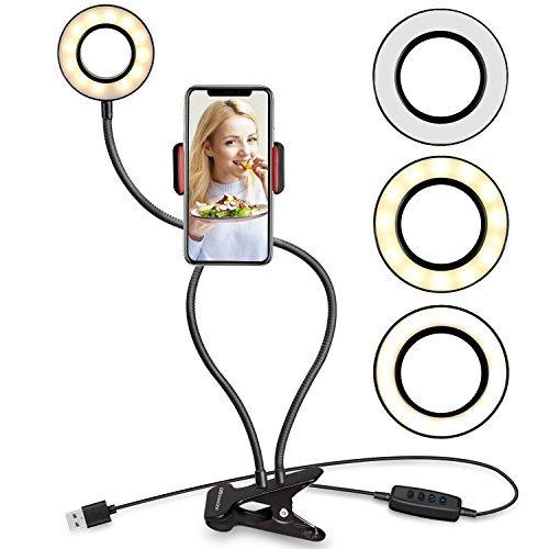 Selfie-Anillo de luz con teléfono celular soporte soporte para vivir Stream y maquillaje, ubeesize LED cámara luz [, 3modo] [10-level brillo] con Flexible larga brazos para iPhone, Android teléfono