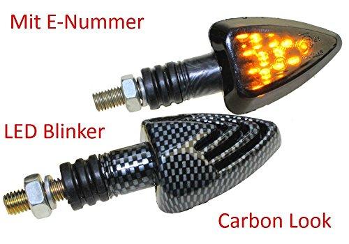 Preisvergleich Produktbild Motorrad Mini Blinker LED Jake carbon getönt E-geprüft für ATV BMW F R Honda DB CBR Kawasaki ER GPZ Ninja Z Suzuki DR GS GSR GSX RGV SV Yamaha FZ XJ XT
